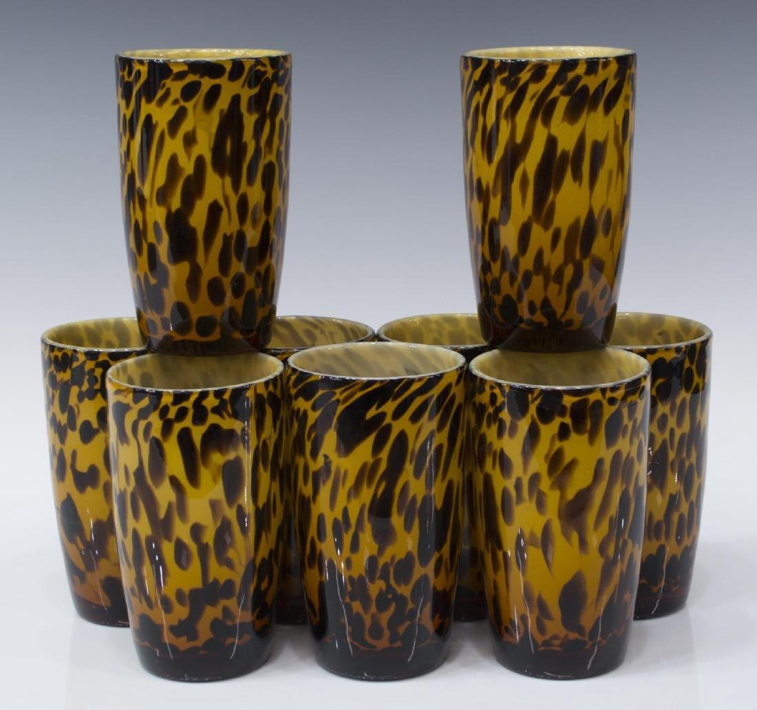 (25) AMICI BLOWN GLASS LEOPARD GOBLETS & PITCHER - 7