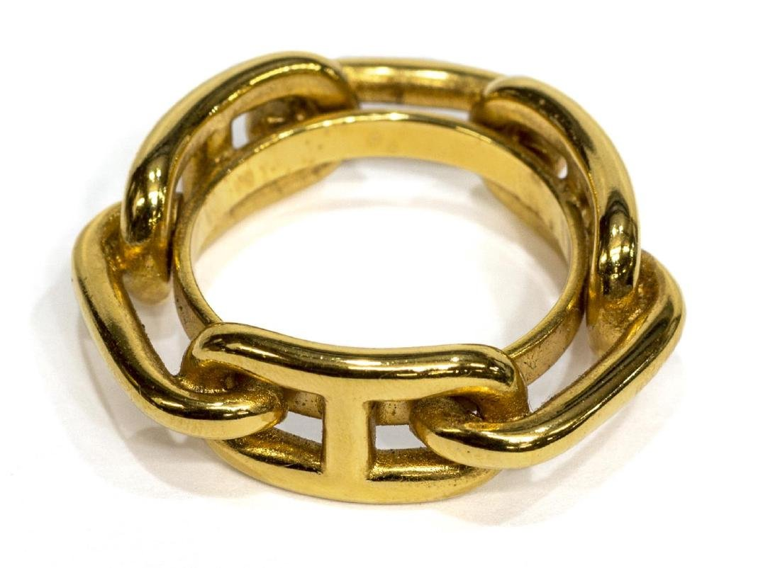 HERMES GOLD TONE LINK FORM SCARF RING