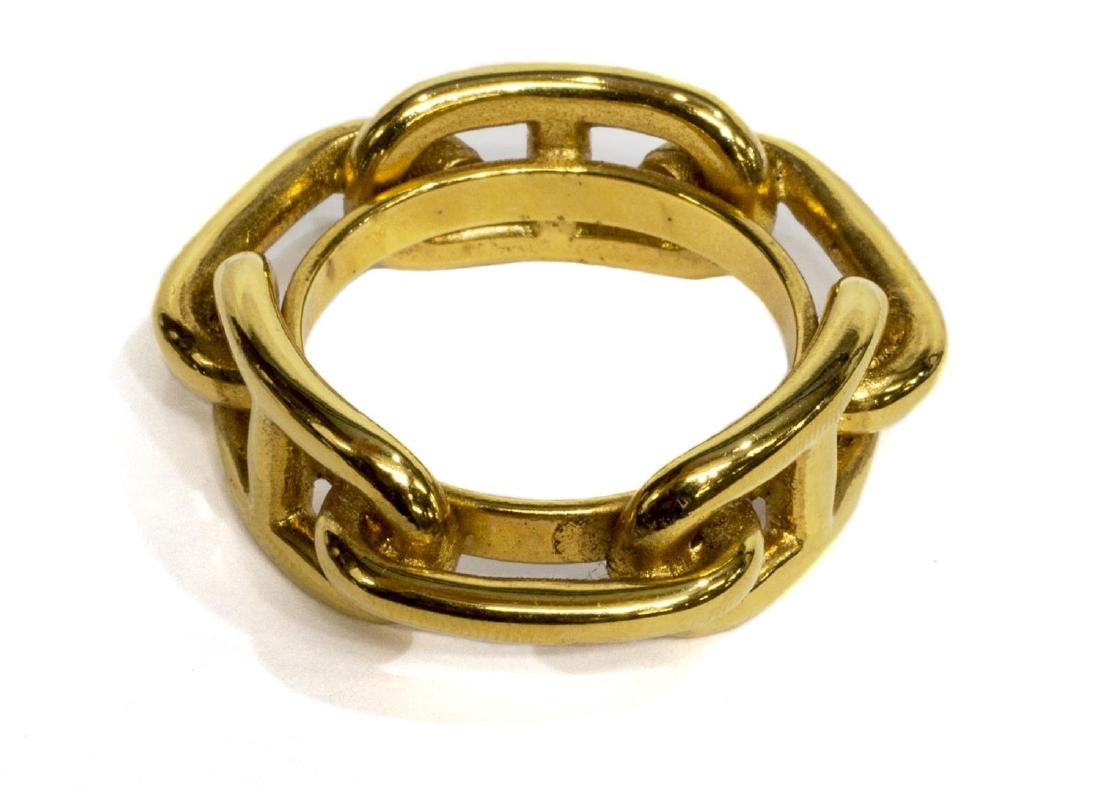 HERMES GOLD TONE LINK FORM SCARF RING - 2