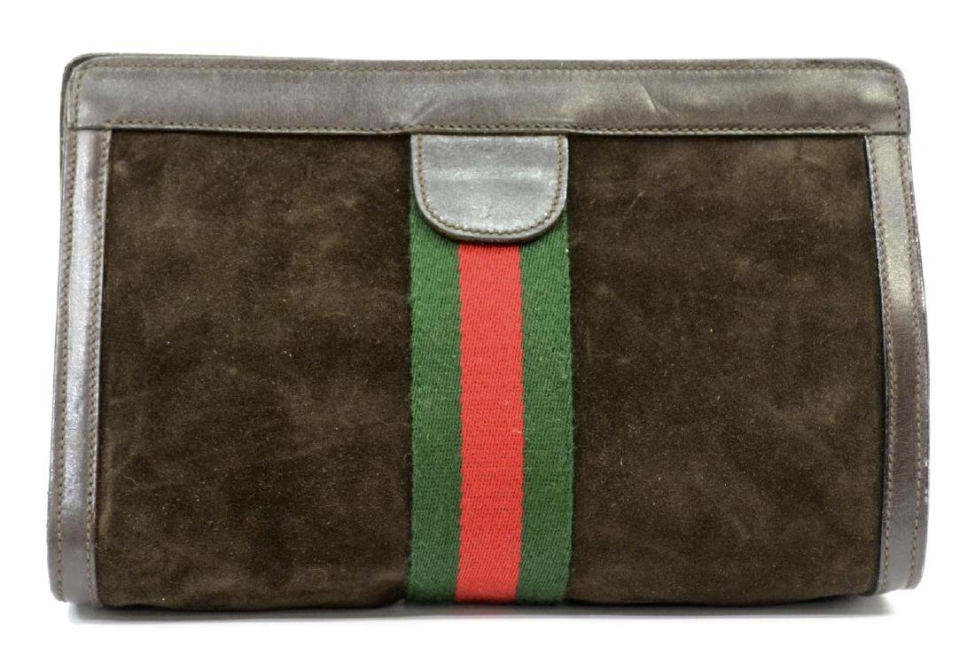 GUCCI 'ACCESSORY' SUEDE COSMETIC BAG OR CLUTCH - 2