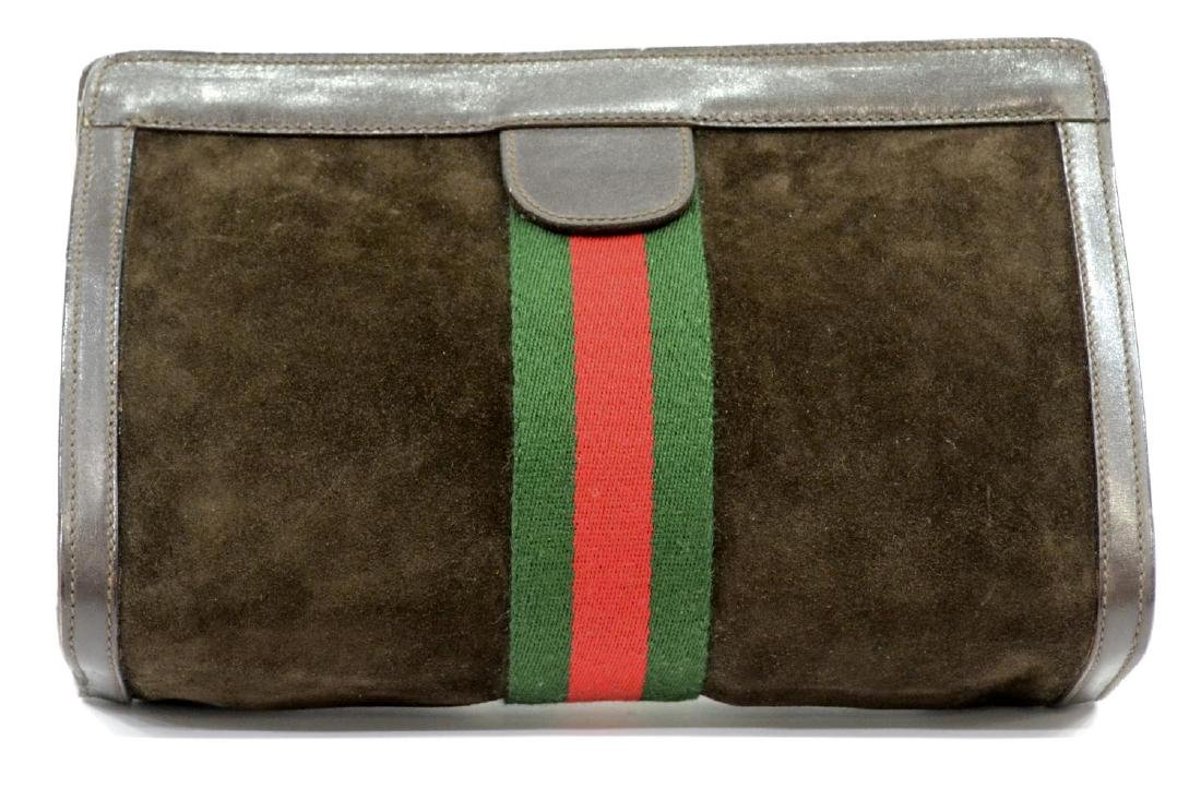 GUCCI 'ACCESSORY' SUEDE COSMETIC BAG OR CLUTCH - 3