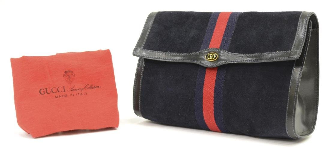 GUCCI 'ACCESSORY COLLECTION' NAVY SUEDE CLUTCH