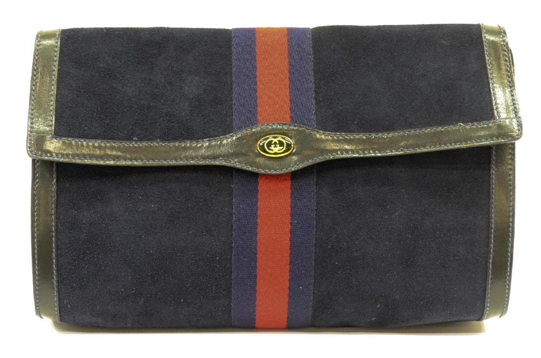 GUCCI 'ACCESSORY COLLECTION' NAVY SUEDE CLUTCH - 2