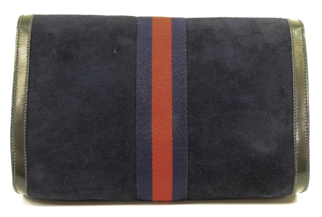 GUCCI 'ACCESSORY COLLECTION' NAVY SUEDE CLUTCH - 3