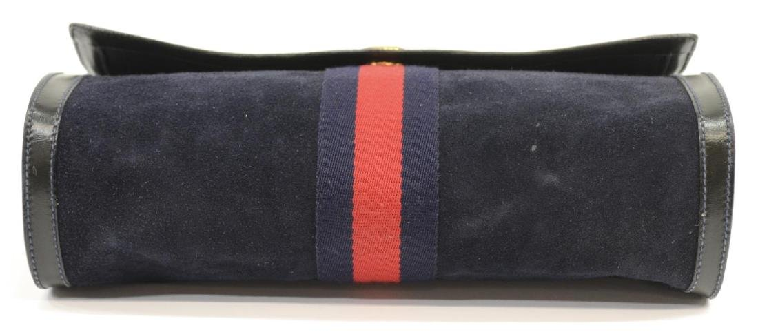 GUCCI 'ACCESSORY COLLECTION' NAVY SUEDE CLUTCH - 4