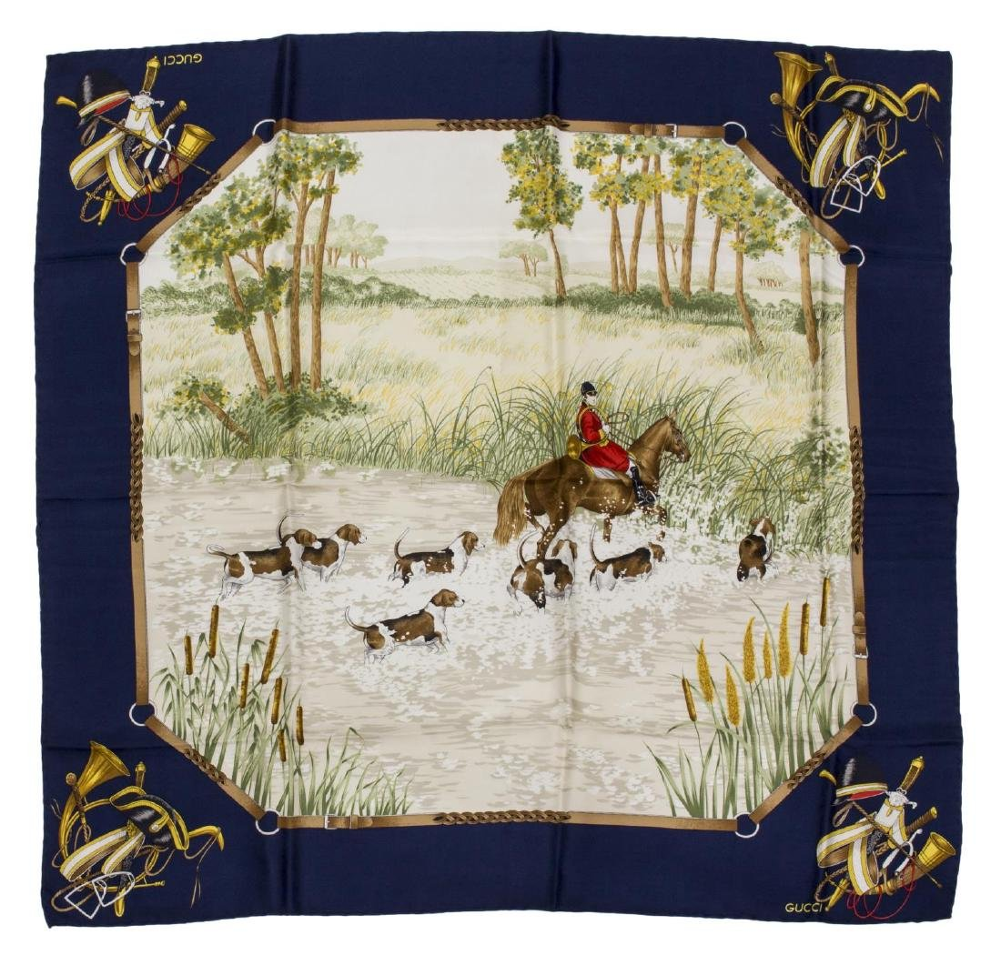GUCCI SILK TWILL SCARF FOX HUNTING SCENE, NAVY