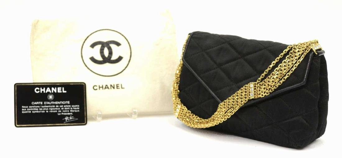 CHANEL QUILTED BLACK SATIN EVENING BAG