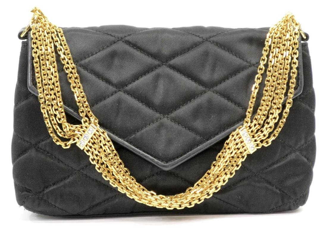 CHANEL QUILTED BLACK SATIN EVENING BAG - 2
