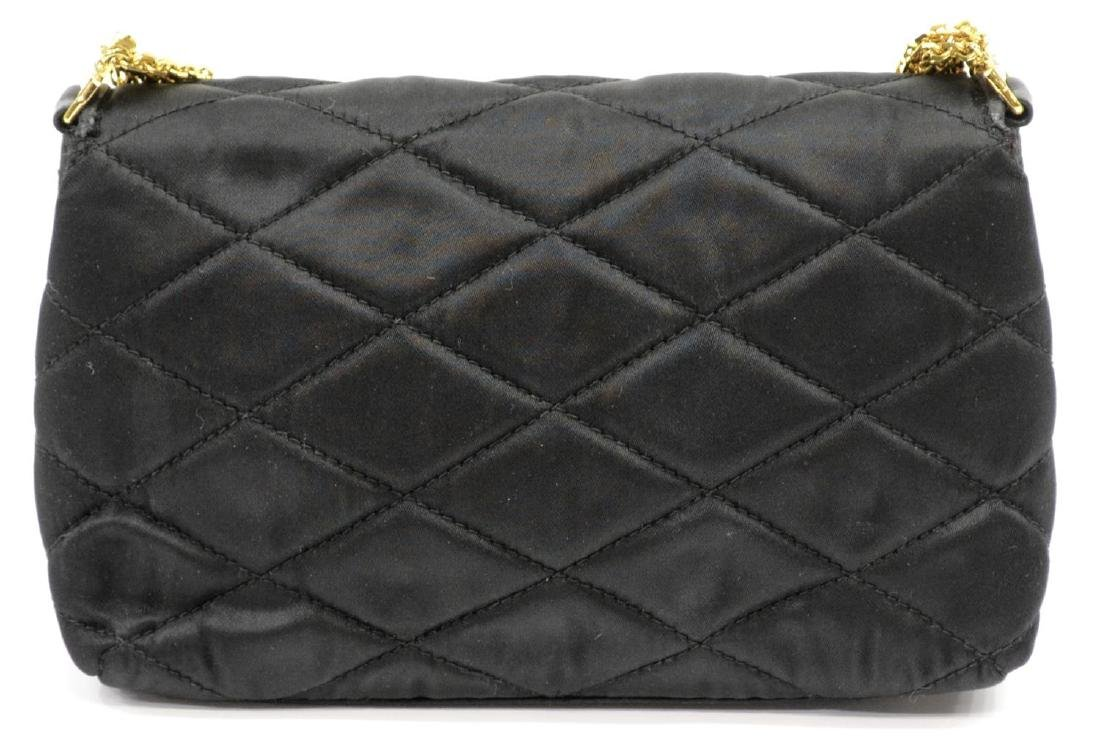 CHANEL QUILTED BLACK SATIN EVENING BAG - 3