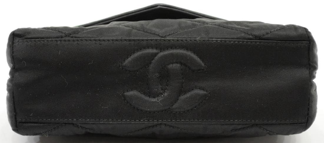 CHANEL QUILTED BLACK SATIN EVENING BAG - 4