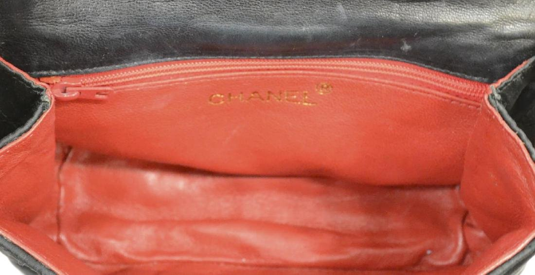 CHANEL QUILTED BLACK SATIN EVENING BAG - 5