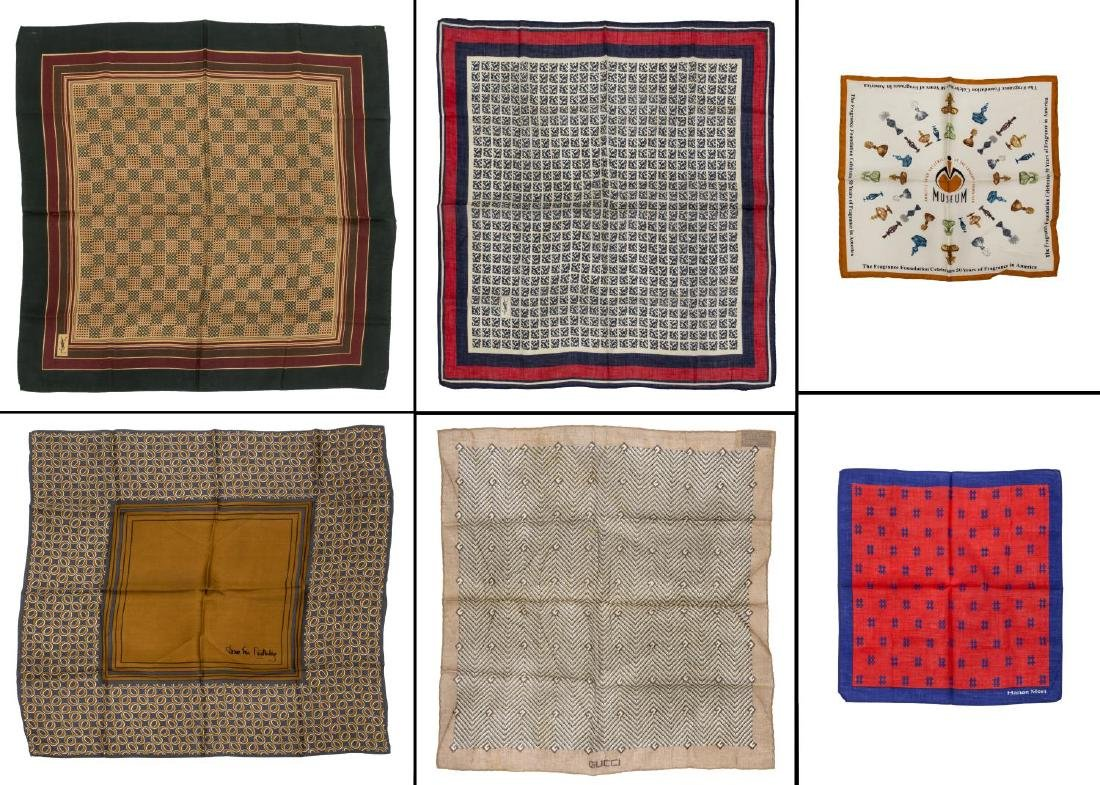 (6) GENTS COTTON AND SILK SCARVES POCKET SQUARES