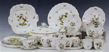 56 HEREND HUNGARY ROTHSCHILD BIRD CHINA DINNER SET