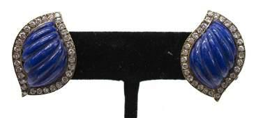 2 LADIES ESTATE 18K GOLD LAPIS DIAMOND EARRINGS