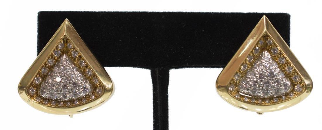 (2) ANDREW CLUNN 18K PLAT & DIAMOND EAR CLIPS