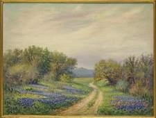 ROLLA TAYLOR (1872-1970) LARGE BLUEBONNET PAINTING