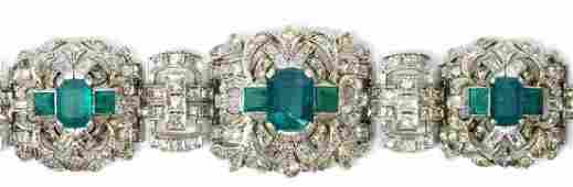 LADIES ESTATE 14K GOLD DIAMOND EMERALD BRACELET
