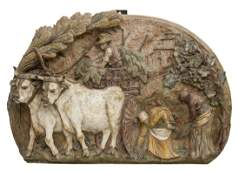 """LARGE ITALIAN CERMAC RELIEF WALL PLAQUE 32"""" x 47"""""""