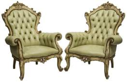(2) ITALIAN BAROQUE STYLE GREEN LEATHER ARMCHAIRS