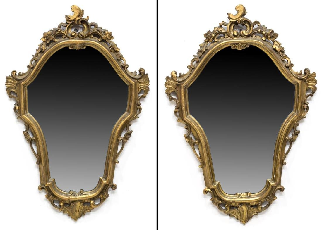 (2) LOUIS XV STYLE CARVED GILTWOOD WALL MIRRORS