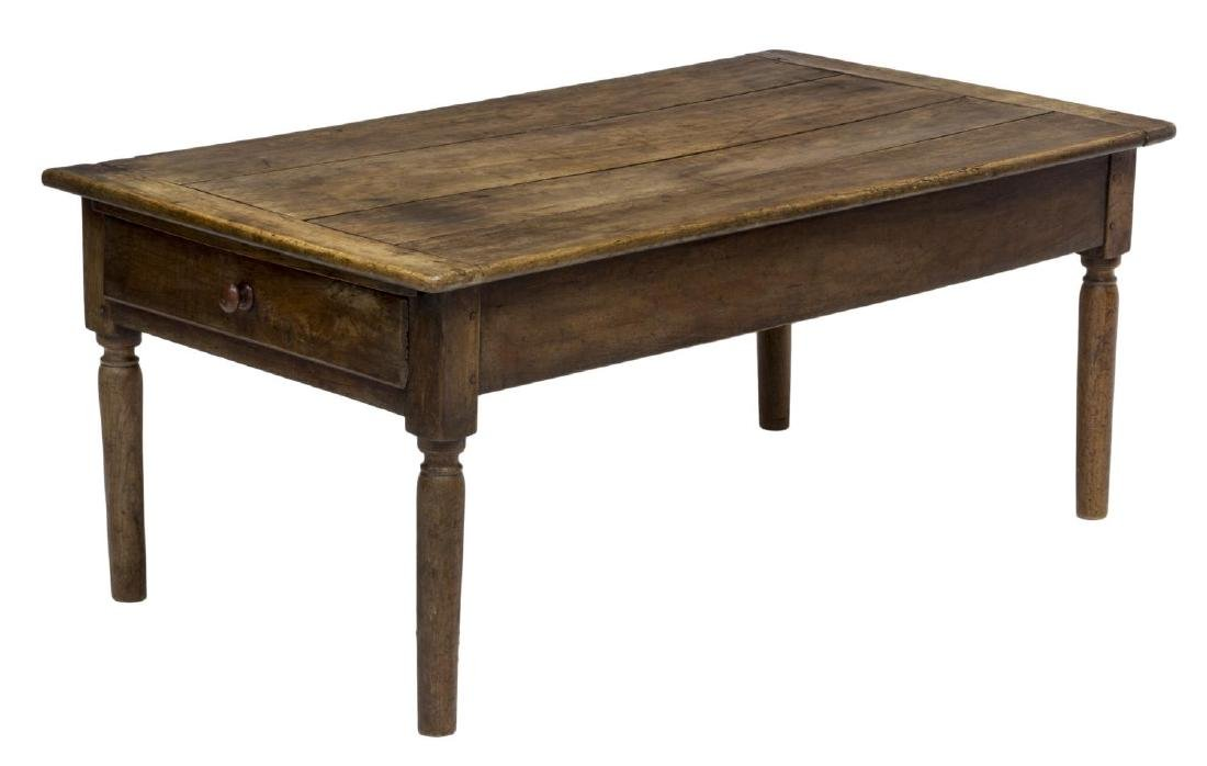 PINE PLANK TOP COFFEE TABLE WITH DRAWER, 19TH C.