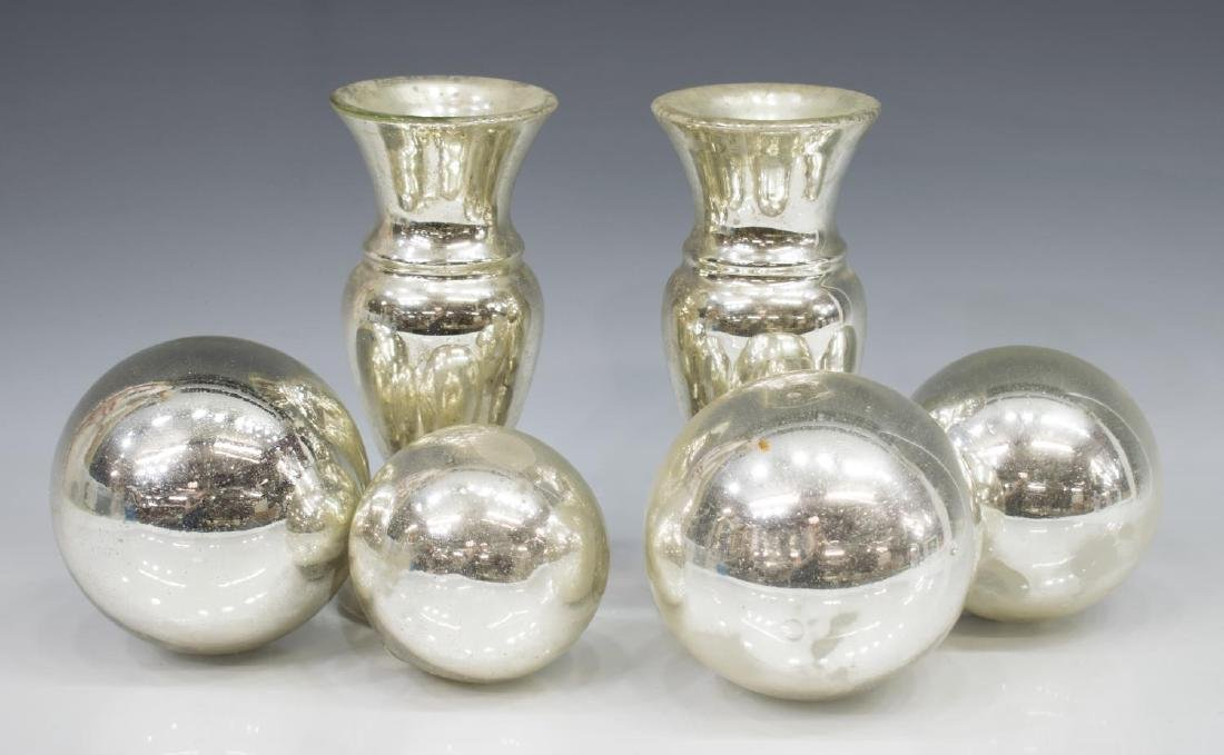 (6) COLLECTION OF MERCURY GLASS VASES & ORBS