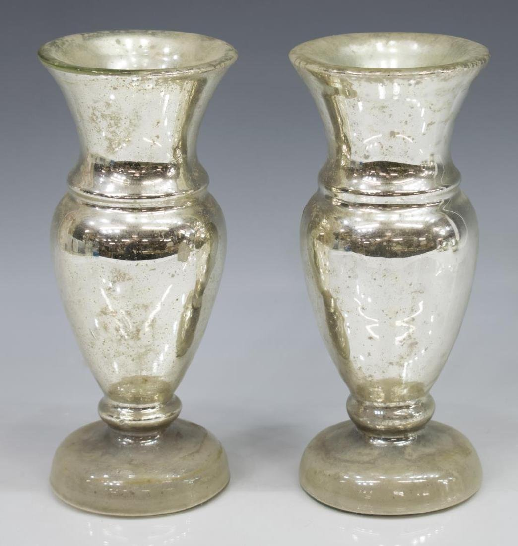 (6) COLLECTION OF MERCURY GLASS VASES & ORBS - 2