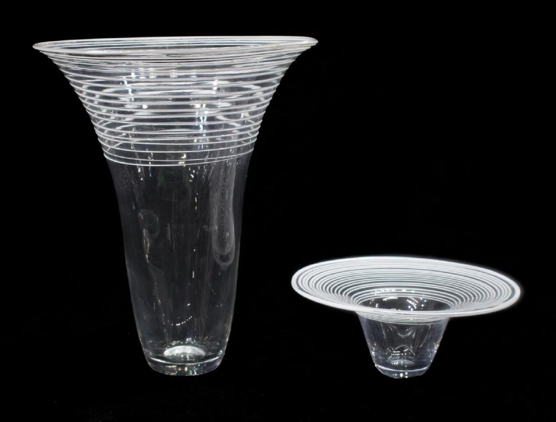 (2) MURANO COLORLESS & WHITE GLASS VASES, 1960'S