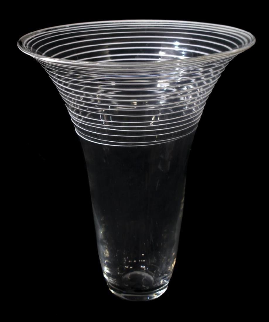 (2) MURANO COLORLESS & WHITE GLASS VASES, 1960'S - 2