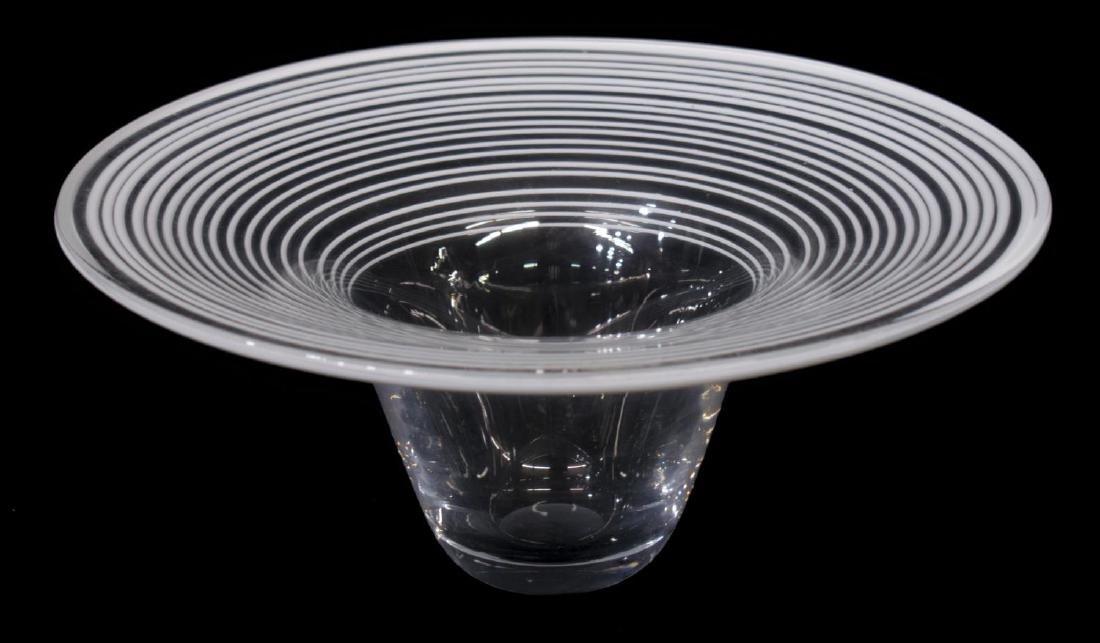 (2) MURANO COLORLESS & WHITE GLASS VASES, 1960'S - 3