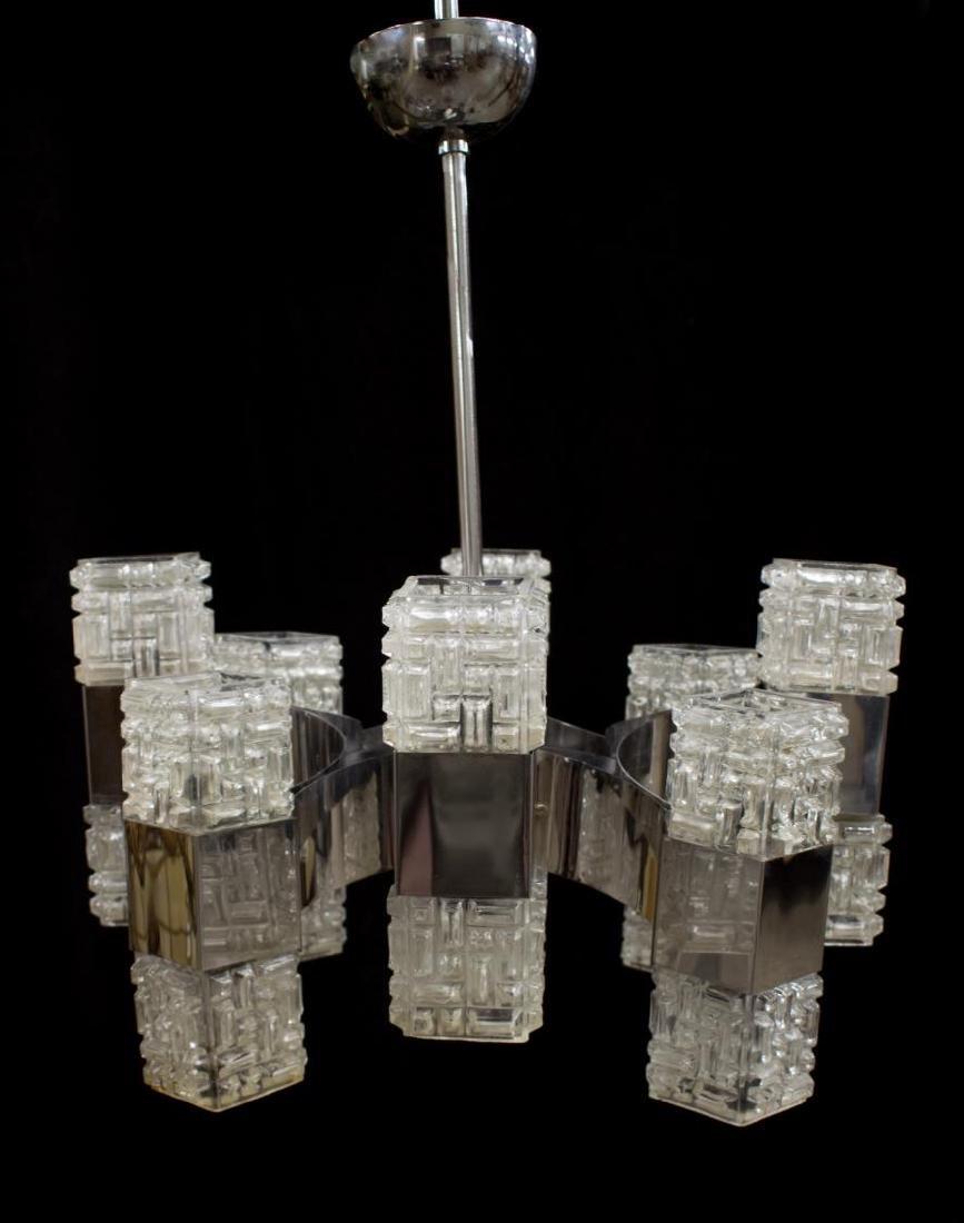 ITALIAN MODERN NICKEL & MOLDED GLASS CHANDELIER