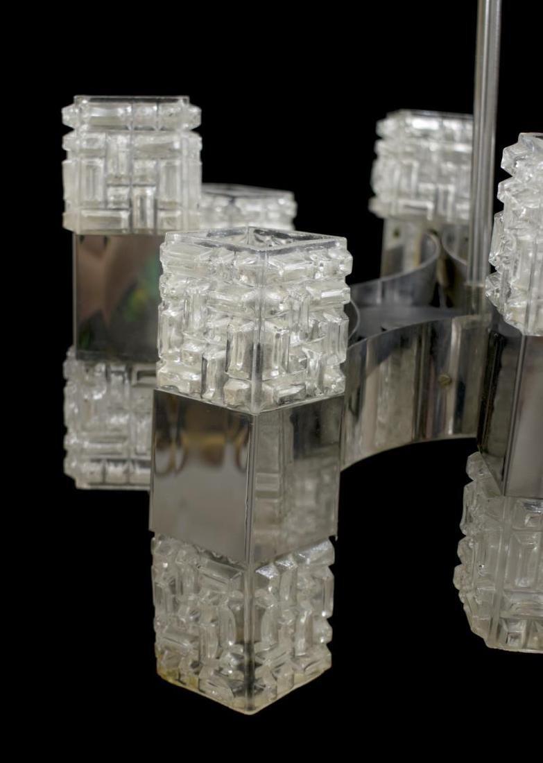 ITALIAN MODERN NICKEL & MOLDED GLASS CHANDELIER - 2