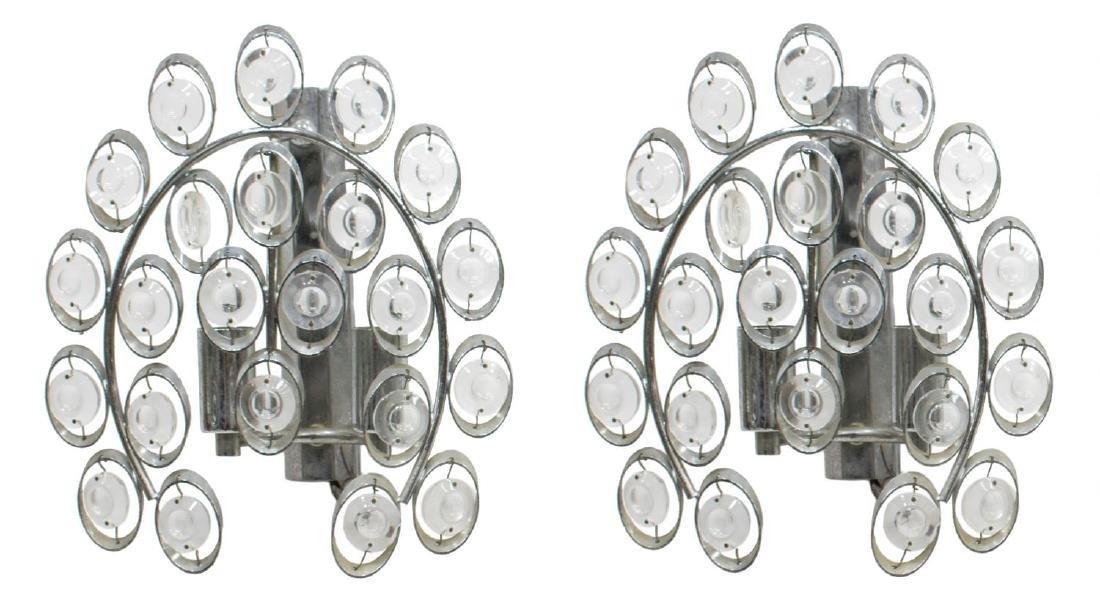 (2) ITALIAN MODERN METAL & PRISM 2-LIGHT SCONCES
