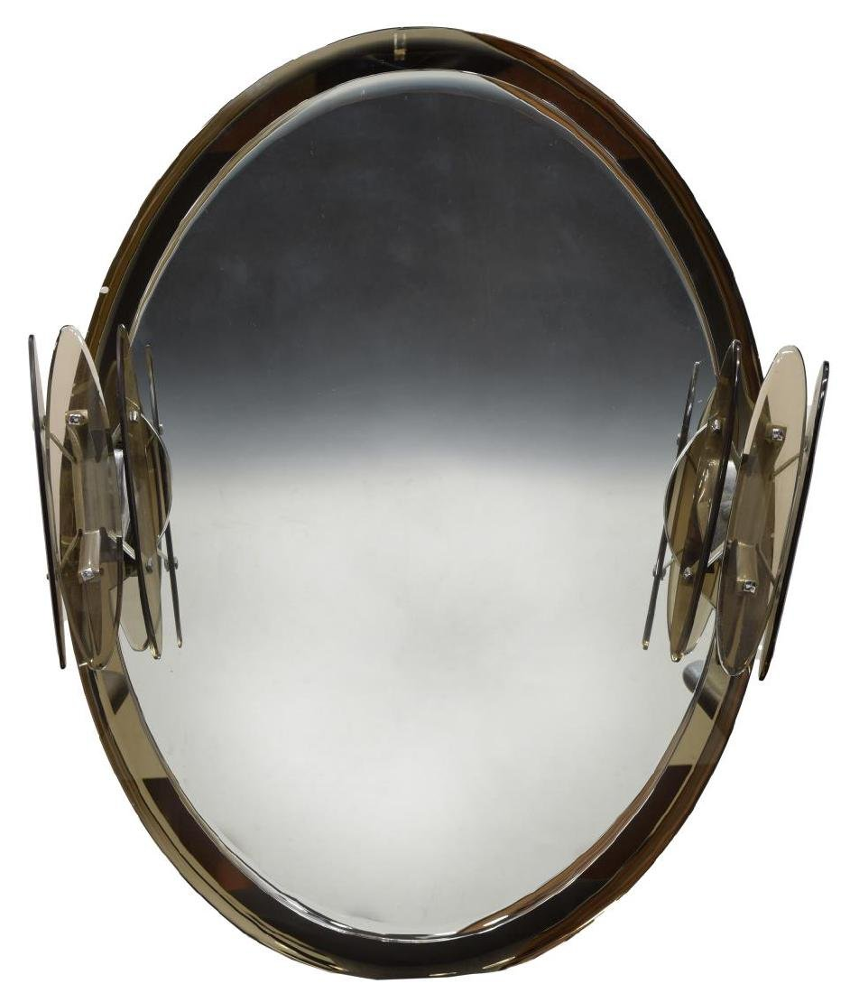 MID-CENTURY MURANO ART GLASS LIGHTED WALL MIRROR