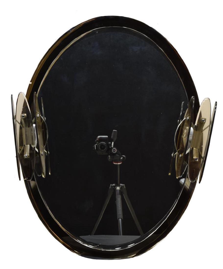 MID-CENTURY MURANO ART GLASS LIGHTED WALL MIRROR - 2