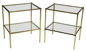 (2) ITALIAN BRASS & GLASS TIERED SIDE TABLES