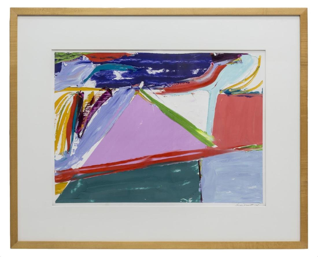 FRAMED ABSTRACT PAINTING ON PAPER, LINDA DUMONT