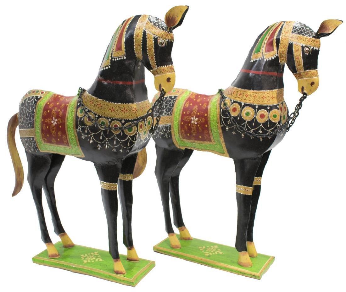 (2) DECORATIVE POLYCHROME METAL HORSES, INDIA