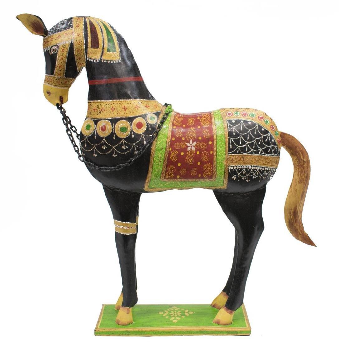 (2) DECORATIVE POLYCHROME METAL HORSES, INDIA - 2