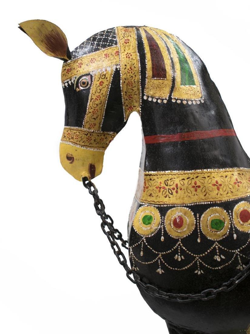 (2) DECORATIVE POLYCHROME METAL HORSES, INDIA - 3