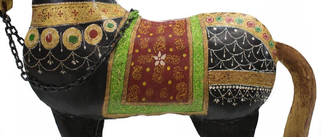 (2) DECORATIVE POLYCHROME METAL HORSES, INDIA - 4