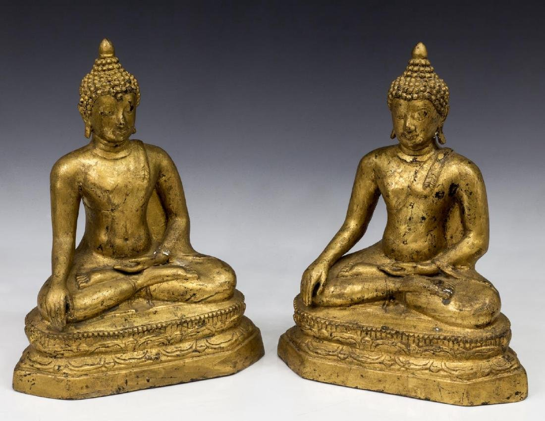 (2) THAI GILT BRONZE SEATED BUDDHAS