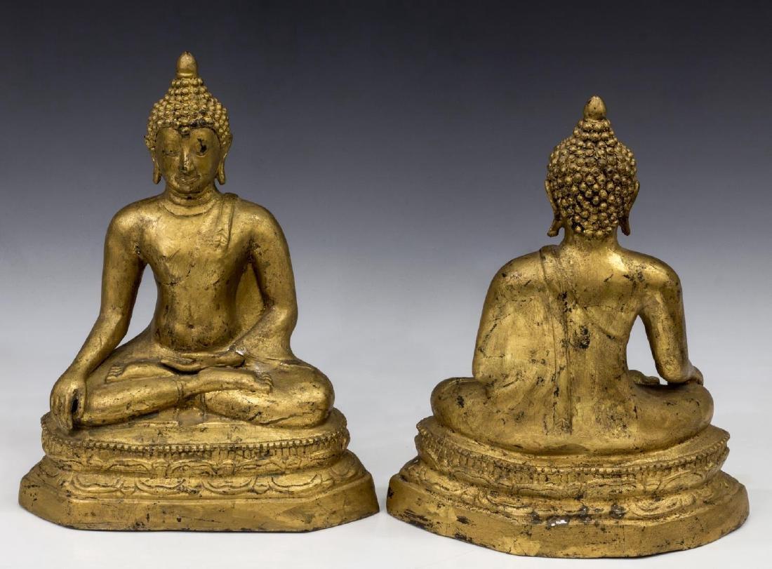 (2) THAI GILT BRONZE SEATED BUDDHAS - 2