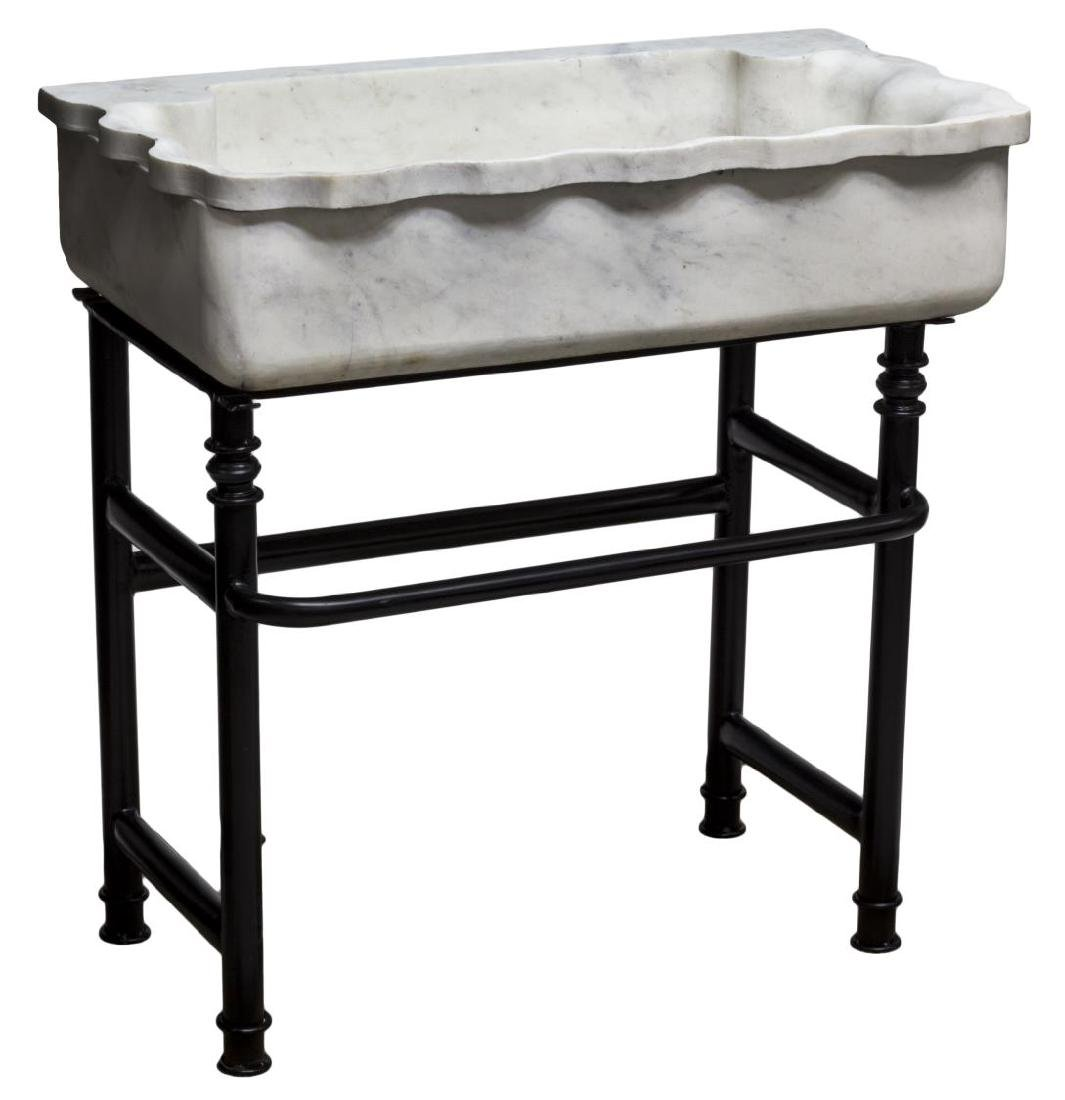 CARVED MARBLE SINK ON BLACK WROUGHT IRON STAND