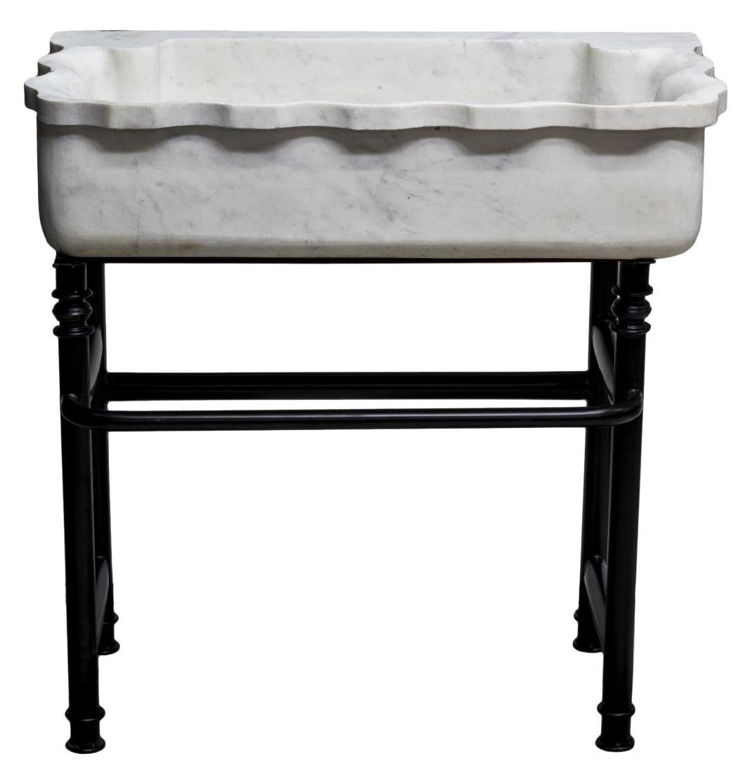CARVED MARBLE SINK ON BLACK WROUGHT IRON STAND - 2