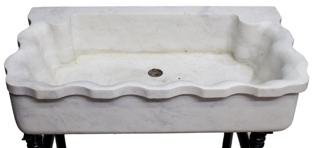CARVED MARBLE SINK ON BLACK WROUGHT IRON STAND - 3