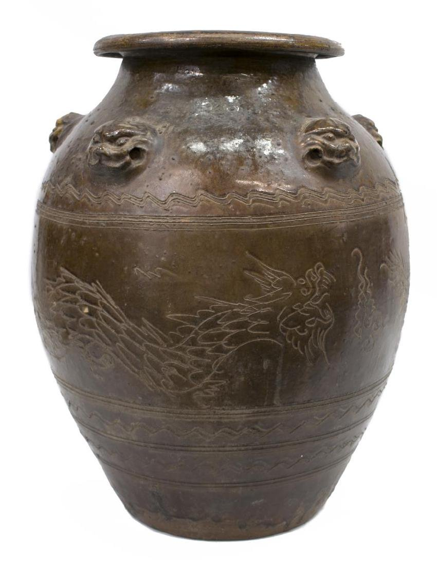 LARGE GLAZED CERAMIC INCISED DRAGON MOTIF JAR