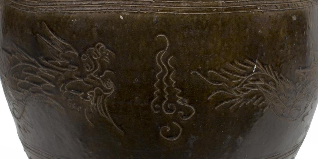 LARGE GLAZED CERAMIC INCISED DRAGON MOTIF JAR - 3