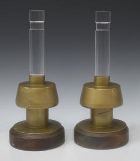 (2) ITALIAN LUCITE & GILT METAL TABLE LAMPS