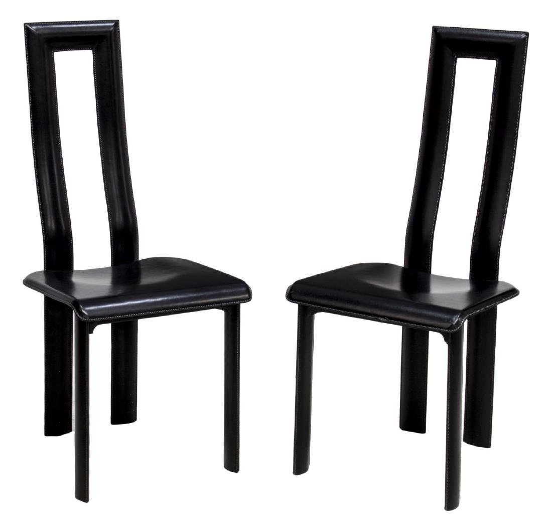 (PAIR) ITALIAN MODERN BLACK LEATHER YCAMI CHAIRS
